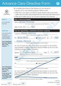 Advance Care Directives form